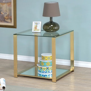 Furniture of America Kerr Contemporary Gold Metal Glass Top End Table