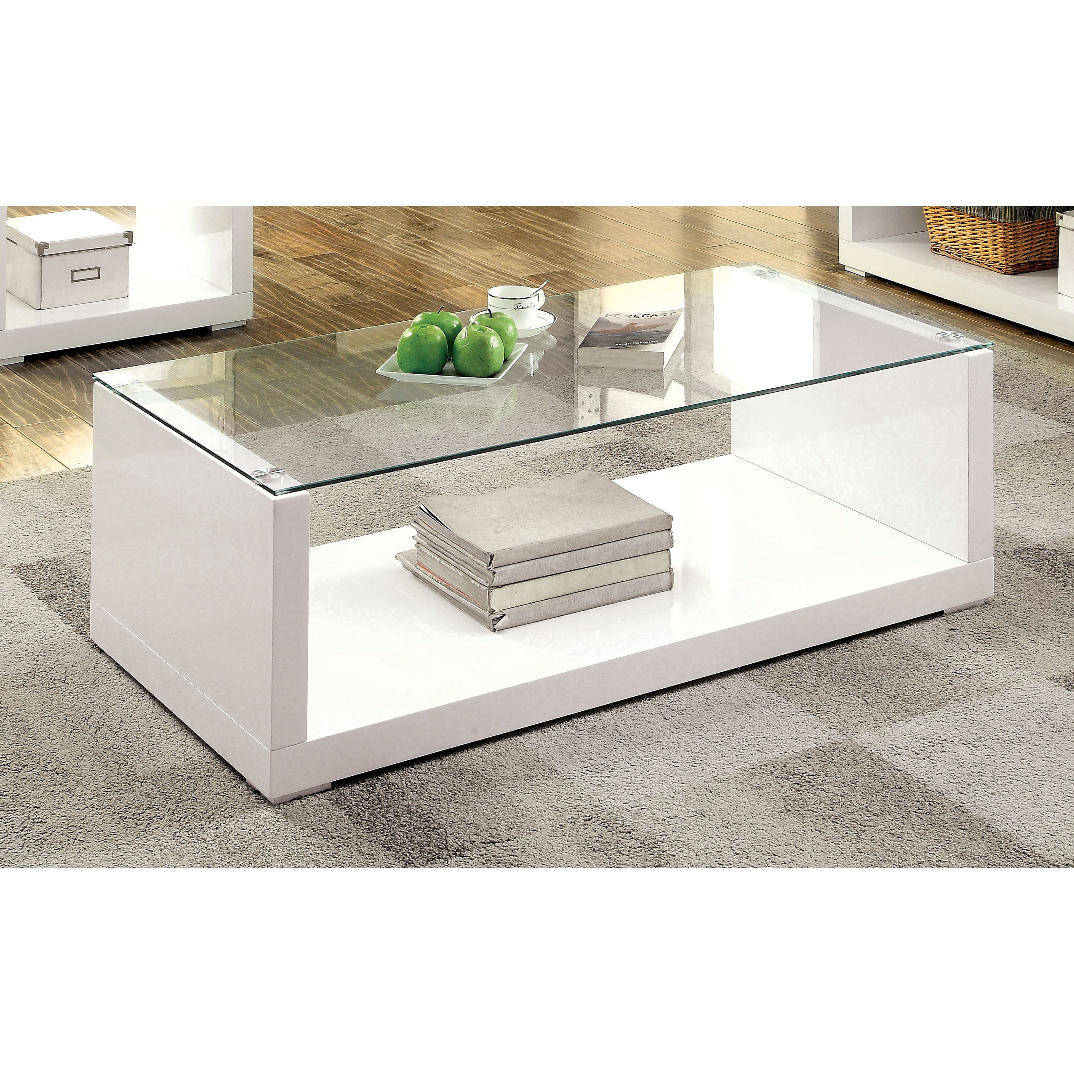 Furniture Of America Shura Contemporary High Gloss White Coffee Table