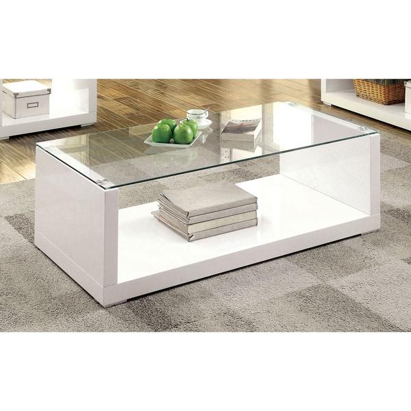 furniture of america shura contemporary high gloss white coffee