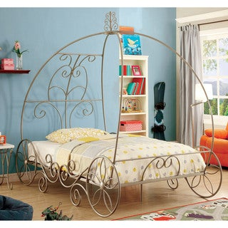 Furniture of America Princess Dream Carriage-Inspired Champagne Metal Bed