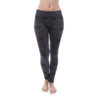 Soho Apparel Women's Snowflake Yarn Dye Fleece Leggings