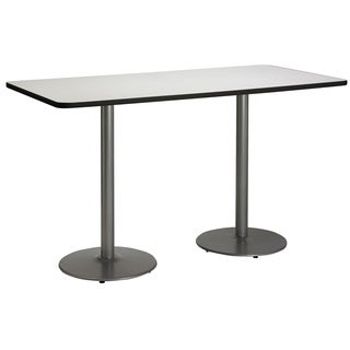 30-inch x 72-inch Bistro Height Pedestal Table with Round Silver Base