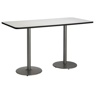 36-inch x 72-inch Bistro Height Pedestal Table with Round Silver Base