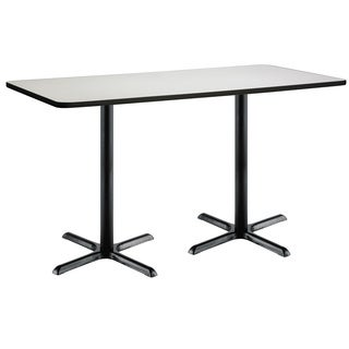 30-inch x 72-inch Bistro Height Pedestal Table with Black X-Base