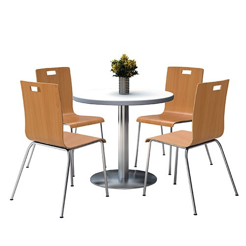 KFI Round 36 Pedestal Table With Round Silver Base With 4 Natural Bentwood  Cafe Chairs