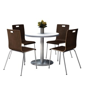Round 36 Pedestal Table with Round Silver Base with 4 Espresso Bentwood Cafe Chairs