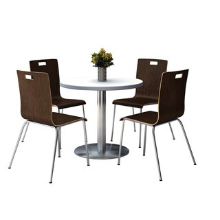 KFI Seating Round 36 Pedestal Table with Round Silver Base with 4 Espresso Bentwood Cafe Chairs