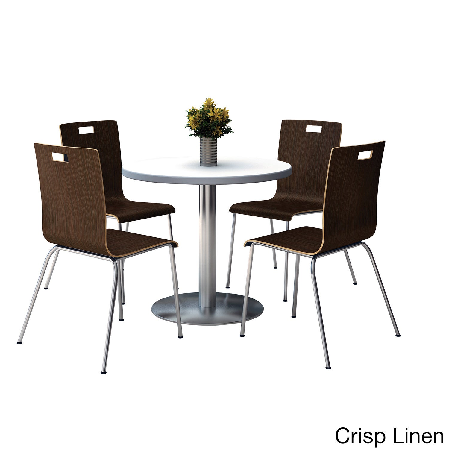 KFI Seating Round 36 Pedestal Table with Round Silver Bas...