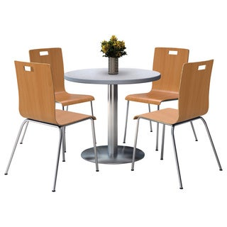 KFI Seating Round 42in Pedestal Table with Round Silver Base with 4 Natural Bentwood Cafe Chairs