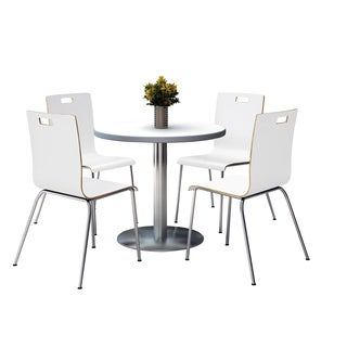 Round 42-inch Pedestal Table with Round Silver Base with 4 White Bentwood Cafe Chairs