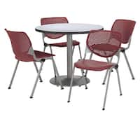 KFI Round 36in Pedestal Table with 4 Burgundy KOOL Stack Chairs