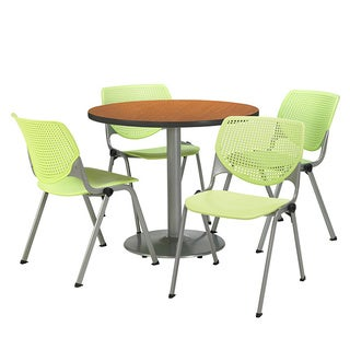 KFI Seating Round 36in Pedestal Table with 4 Lime Green KOOL Stack Chairs