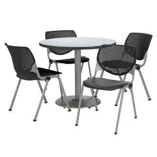 Round 42-inch Pedestal Table with 4 Black KOOL Series Stack Chairs