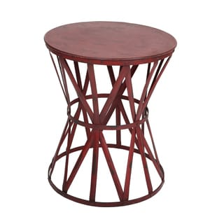 Wanderloot Truss Red Distressed Industrial Metal Side Table (India)