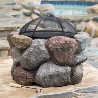 Bryce Outdoor Natural Stone Fire Pit by Christopher Knight Home