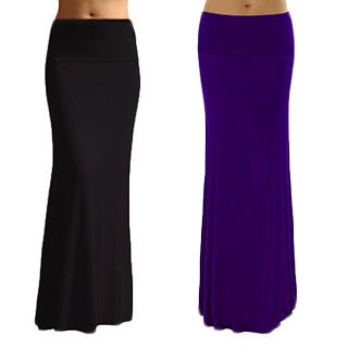 Dinamit Women's Solid Rayon Spandex Maxi Skirt (Pack of 2) (4 options available)