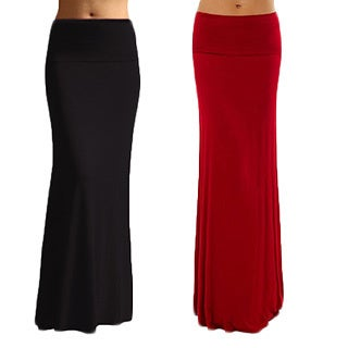 Dinamit Women's Solid Rayon Spandex Maxi Skirt (Pack of 2) (Option: L)