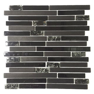Martini Mosaic Essen Very Black Glass 11 75 X 11 75 Inch