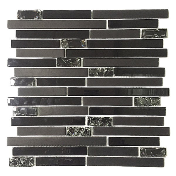 Upscale designs 12 inch black glass mesh mounted mosaic for Installing glass tile with mesh back