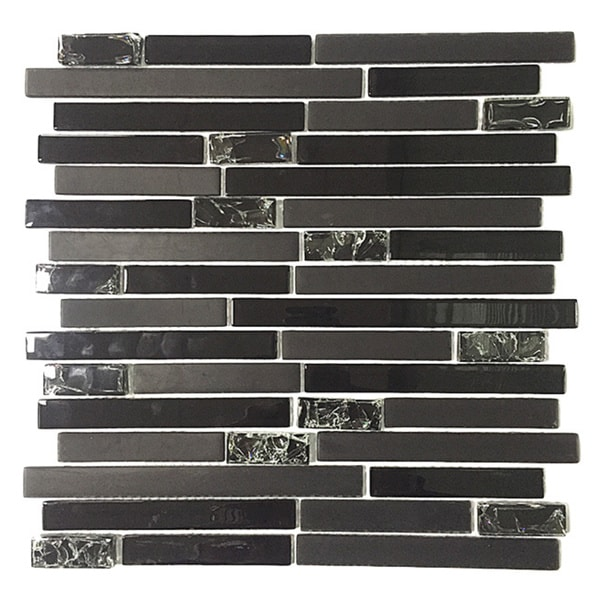Upscale Designs 12 Inch Black Gl Mesh Mounted Mosaic Wall Tile 6 Sheets Free Shipping Today 11138263