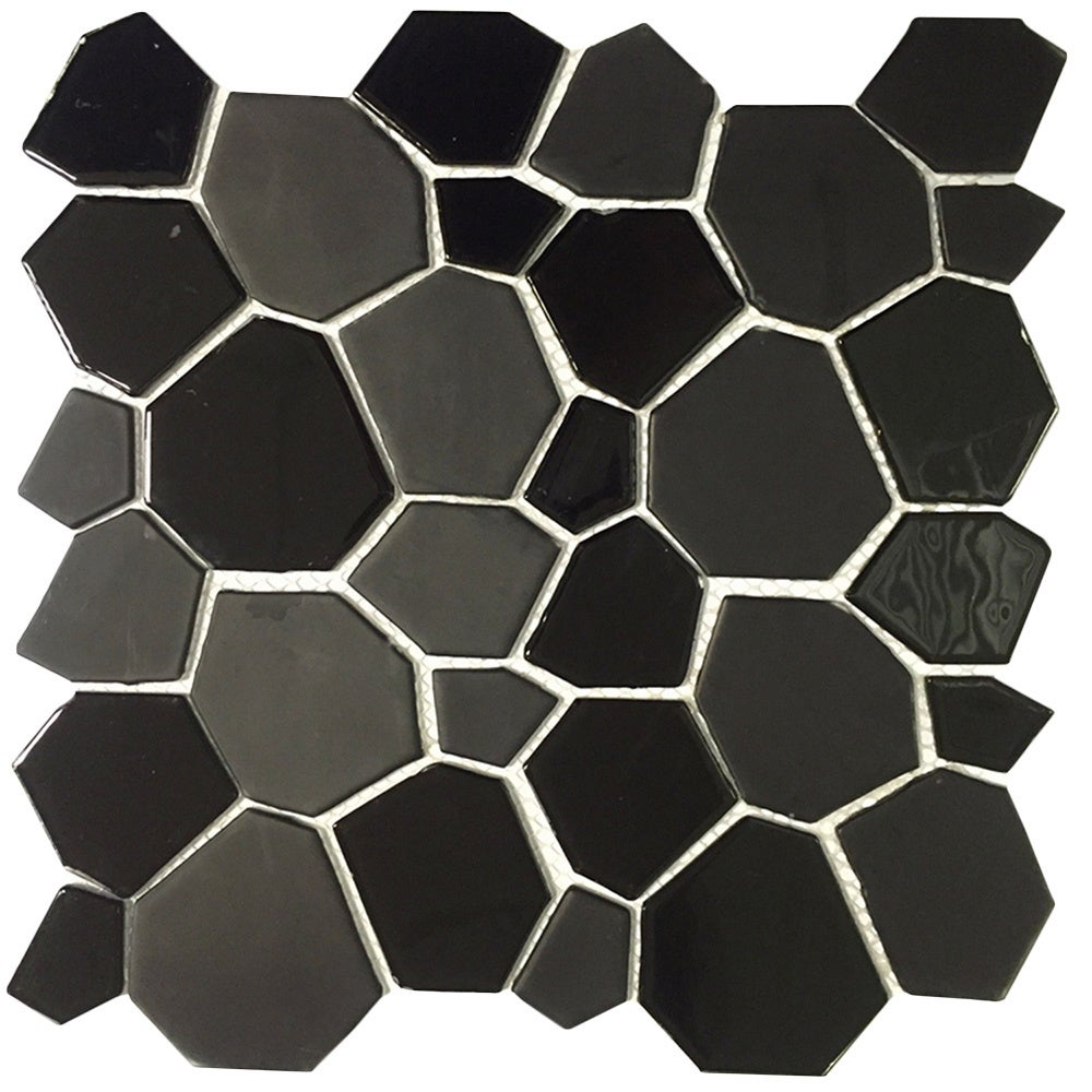 Instant Mosaic Peel and Stick 12-Inch Black Glass Mosaic ...