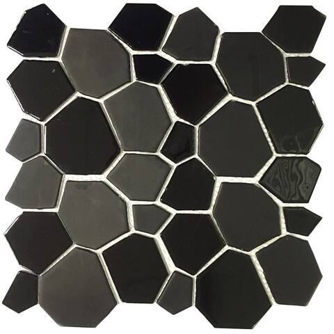 Instant Mosaic Peel and Stick 12-Inch Black Glass Mosaic Wall Tile (6 sheets)