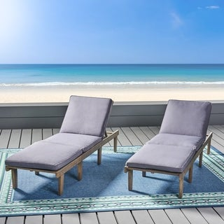 Ariana Outdoor Acacia Wood Chaise Lounge with Cushion (Set of 2)