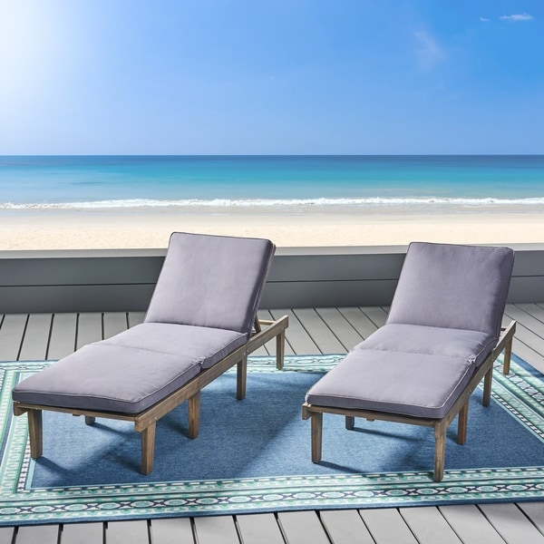 Shop Ariana Outdoor Acacia Wood Chaise Lounge with Cushion ...