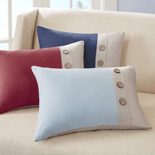 Madison Park Feather Down Filled Linen 3-Button Oblong Pillow--3 Color Options