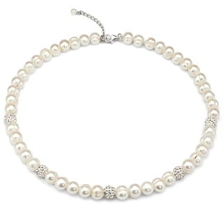 DaVonna Sterling Silver Pearl and Cubic Zirconia Strand Necklace (8-9 mm)