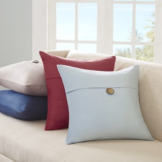Madison Park Linen 1 Button Square Throw Pillow--4 Color Options