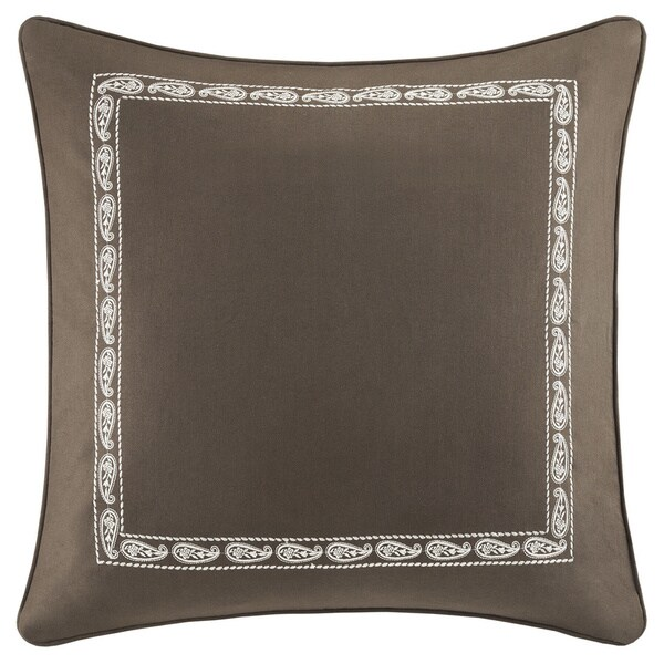 Harbor House Miramar Brown Cotton 26-inch Euro Sham With Embroidered Frame with Hidden Zipper Closure