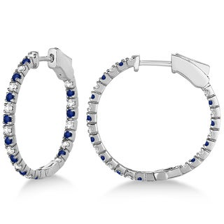 14k White Gold 1.44ct Round Diamond & Blue Sapphire Hoop Earrings