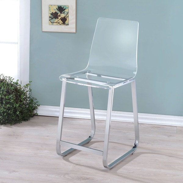 Furniture of America Kuch Contemporary Acrylic Counter Chairs Set of 2