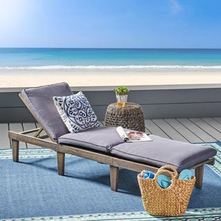 Christopher Knight Home Ariana Acacia Outdoor Wood Chaise Lounge with Cushion