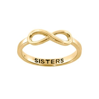 Eternally Haute 14k Goldplated Sterling Silver Sisters Sentiment Infinity Ring