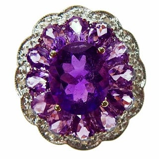 Kabella 14k Yellow Gold Amethyst and Diamond Accent Ring