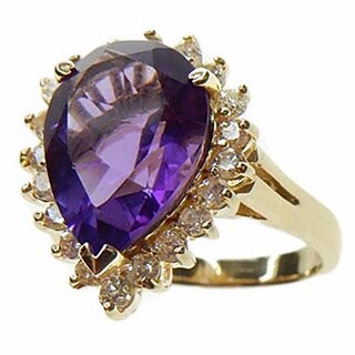 Kabella 14k Yellow Gold Amethyst and 1/2ct TDW Diamond Ring (G-H, SI2-I1)
