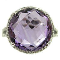 Kabella 14k White Gold Amethyst and 1/4ct TDW Diamond Ring (Size 6.75) (G-H, SI2)