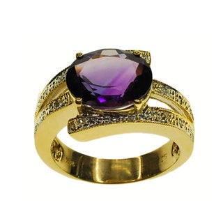Kabella 14k Yellow Gold Amethyst and Diamond Accent Ring (Size 7)