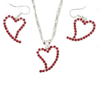 Red Crystal Valentine Heart Earring and Necklace Set