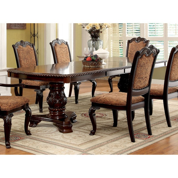 Furniture of america oskarre formal brown cherry 108 inch for Dining room tables home goods