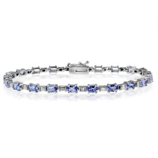 Glitzy Rocks Sterling Silver 5 3/4ct TGW Tanzanite and Diamond Accent Tennis Bracelet - Purple