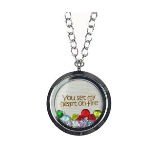 Link to Pink Box 'You Set My Heart On Fire' Stainless Steel Love Message Locket Similar Items in Fashion Jewelry Store