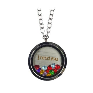 Link to Pink Box 'I Need You' Stainless Steel Love Message Locket Similar Items in Fashion Jewelry Store