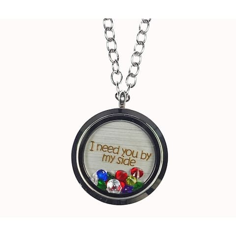Pink Box 'I Need You by My Side' Stainless Steel Love Message Locket