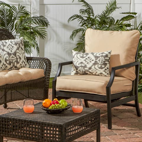 Elmington Deep Seat 25-inch x 47-inch Outdoor Back and Seat Cushion Set by Havenside Home - 25 w x 47 l - 25 w x 47 l