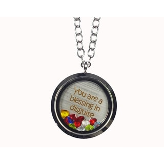 Pink Box 'You Are a Blessing in Disguise' Stainless Steel Love Message Locket