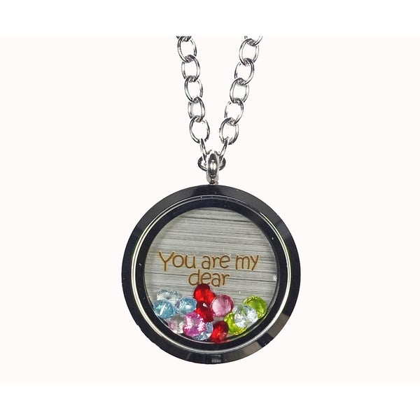 Pink Box 'You Are My Dear' Stainless Steel Love Message Locket. Opens flyout.