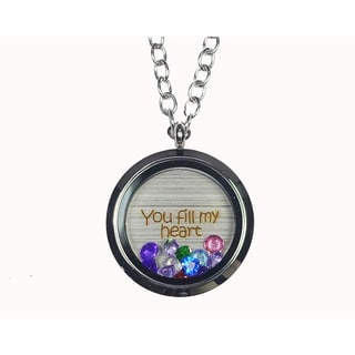 Link to Pink Box 'You Fill My Heart' Stainless Steel Love Message Locket Similar Items in Fashion Jewelry Store